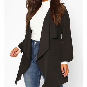 NEW Boohoo Plus Waterfall Belted Black Jacket